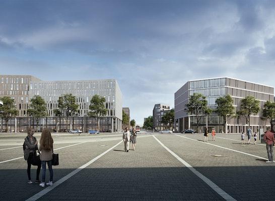 1. Preis: Blick aus der Bahnhofshalle, © WELP von KLITZING   Architekten & Stadtplaner