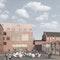 Blick zum Bibliotheks- und Hörsaalgebäude mit vorgelagerter Mensa