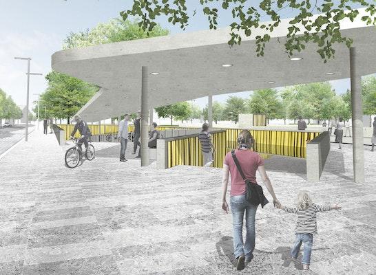 1. Preis: Eingang Unterführung West, © ANNABAU Architektur und Landschaft