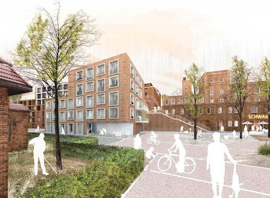 1. Preis: Perspektive Schillerstrasse, © Osterwold°Schmidt EXP!ANDER Architekten BDA / lohrer.hochrein landschaftsarchitekten und stadtplaner gmbh