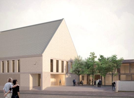 1. Preis: Perspektive von der Wilhelm-Pieck-Straße, © AWB Architekten