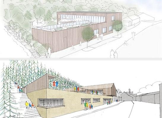 ein 2. Preis Mit der Realisierung beauftragt: Die zwei 2. Preise: F64 Architekten + DAURER + HASSE (oben) // Freitag Hartmann Architekten + pur architekten + LUZ Landschaftsarchitekten (unten)