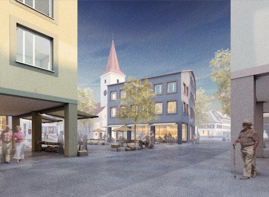 Basler Straße Bad Krozingen Wettbewerbsperspektive, Entwurf Rosenstiel Architekten
