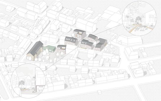 Isometrie Städtebau Quartier, Blick in die Spielstraße zwischen den Neubauten und in die beiden Gemeinschaftshöfe