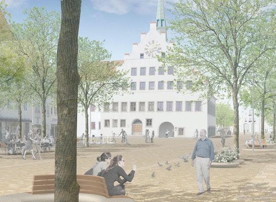 1. Preis: LML Blick vom Oberen Markt auf das Rathaus