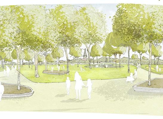 1. Preis: Das Kulturhaus erhält einen großzügigen Vorbereich in Form eines Kulturplatzes, welcher zugleich den Auftakt in den multifunktional angelegten Stempelpark bildet, © faktorgruen