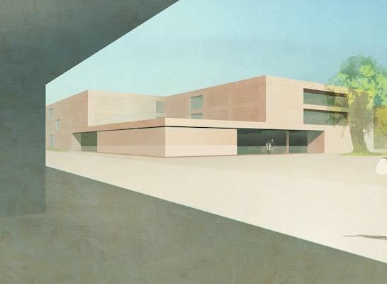 1. Preis: Blick auf den Campusplatz und die Grundschule, © NAK Architekten