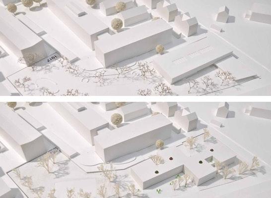 ein 1. Preis: Zwei 1. Preise: oben Fuchs und Rudolph Architekten mit Büro Freiraum Landschaftsarchitekten - Johann Berger; unten Oberst & Kohlmayer mit Glück Landschaftsarchitektur