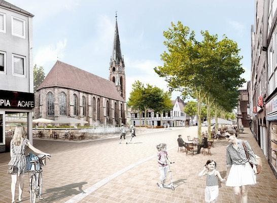 1. Preis Zuschlag: Visualisierung Kirchplatz, © capattistaubach Landschaftsarchitekten