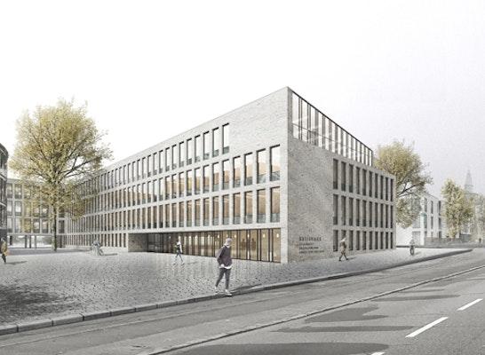 1. Preis: Visualisierung Marktstraße Erweiterungsneubau Kreishaus Husum