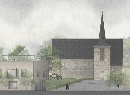 1. Preis: Ansicht Nord Kindergarten und Gemeindezentrum, © post welters + partner mbB Architekten & Stadtplaner BDA/SRL