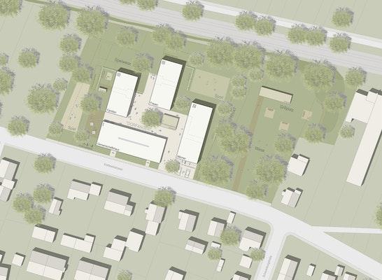Teilnahme Zur Weiterbearbeitung empfohlen: Lageplan, © K9 Architekten