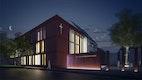Neubau Haus der Katholischen Kirche . bei Nacht