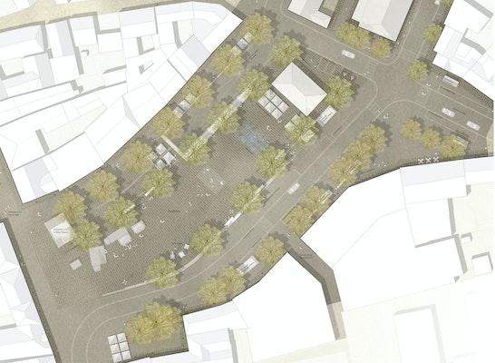 1. Preis: Lageplan, © grabner huber lipp landschaftsarchitekten und stadtplaner partnerschaft mbb