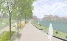 Donau-Promenade mit Band aus verschiedenen Spiel- und Aufenthaltsmöglichkeiten