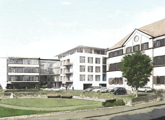 Wettbewerbsperspektive Stahlbad, Visualisierung LINK3D Freiburg, Entwurf Stocker Dewes Architekten mit Franz und Geyer
