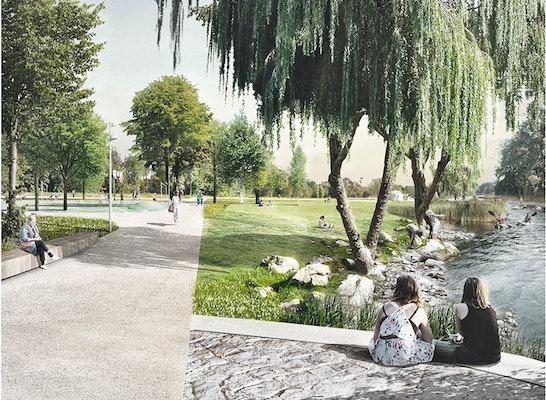 Blick aus der Unterführung über den neuen Uferpark Kräuterwiese mit Vils-Promenade und Sportarena