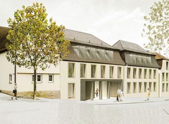 1. Preis Realisierungsteil ─ Neubau des Rathauses: Lageplan, © Lieb+Lieb Architekten BDA mit ACER Planungsgruppe