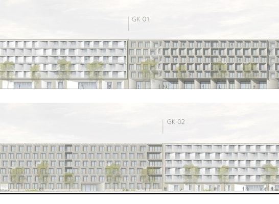 Gebäudekomplex 1 und 2 - Ansicht Reichskanzler-Müller-Straße und Hof