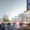 Mit seiner öffentlich urban gestalteten Mitte verbindet der neue Daimler-Bürostandort in Vaihingen Arbeit und Kommunikation miteinander. (O&O Baukunst / Rendering: Finest Images)