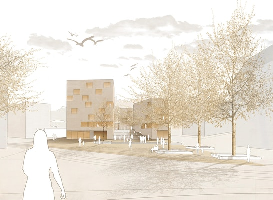 1. Preis Nach Überarbeitung: Perspektive, © harris + kurrle architekten bda