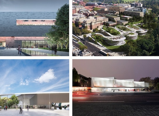 FINALIST: From left to right: Adjaye Associates and BVN; BIG – Bjarke Ingels Group and JPE Design Studio; David Chipperfield Architects and SJB Architects; Khai Liew, Office of Ryue Nishizawa and Durbach Block Jaggers; Diller Scofidio + Renfro and Woods Bagot; HASSELL and SO-IL