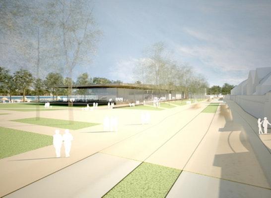 Wettbewerbssperspektive / 3D-Visualisierung Inselhalle Lindau für Harter Kanzler Architekten, Freiburg (2.Preis)