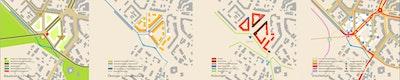 Piktogramme zu Baustruktur/Freiraum, Ökologie/Umweltschutz, Nutzungen, Erschließung