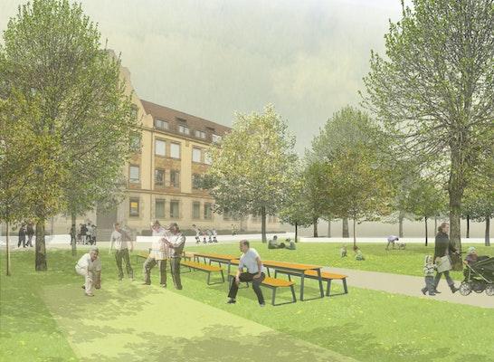 Zur Realisierung empfohlen für die öffentlichen Freiräume: Visualisierung, © ver.de landschaftsarchitektur