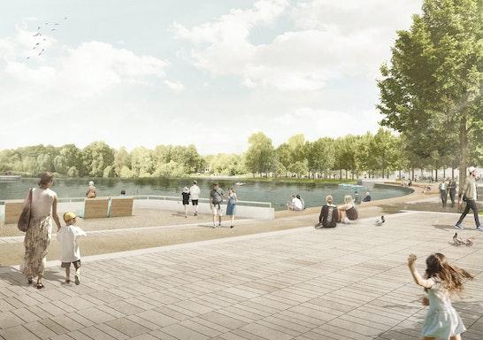Neuer Parkzugang mit Uferbalkon am Schäfersee