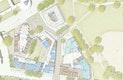 Freiraumplanerische Vertiefung mit Erdgeschoss Realschule, Studienhaus, KiTa und Grundschule