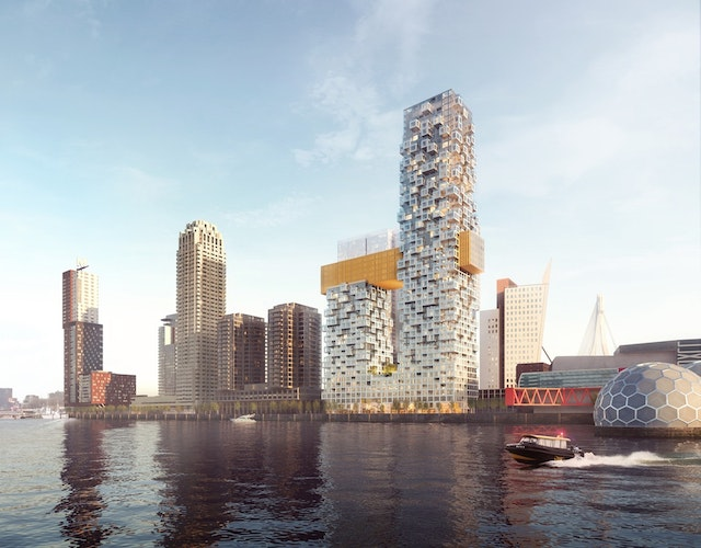 New mixed-use tower at Rotterdam's Wilhelminapier