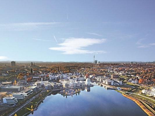"""Deutscher Städtebaupreis 2018: PHOENIX – Eine neue Stadtlandschaft, Dreiklang der Stadtentwicklung """"PHOENIX West – Hörde Zentrum – PHOENIX See"""", © KNSY Photographie"""