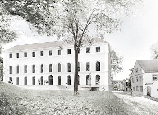 1. Preis: Blick auf das Museum, © Brückner & Brückner Architekten Tirschenreuth I Würzburg mit 3DWAY architectural graphics München
