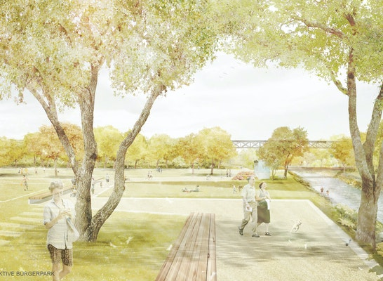 ein 1. Preis: Perspektive Bürgerpark | lohrer.hochrein landschaftsarchitekten und stadtplaner gmbh | löhle neubauer architekten