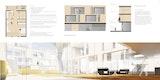 Grundriss Wohnung, Fassade und Rendering Innenhof