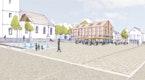 Blick auf den neuen Marktplatz mit Stadthaus