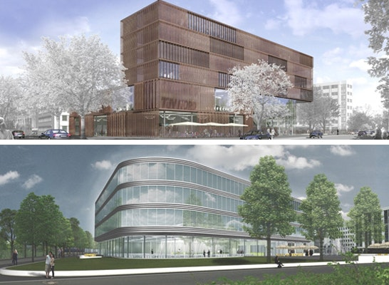 ein 1. Preis: oben ein 1. Preis: Bieling und Partner Architekten, Kassel (DE), Hamburg (DE), unten ein 1. Preis: Sunder-Plassmann Architekten, Kappeln / Schlei (DE)