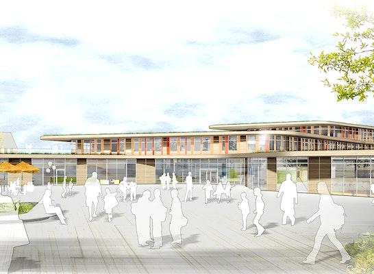 1. Preis Hochbaulicher Realisierungsteil: Perspektive vom Eingang, © Behnisch Architekten
