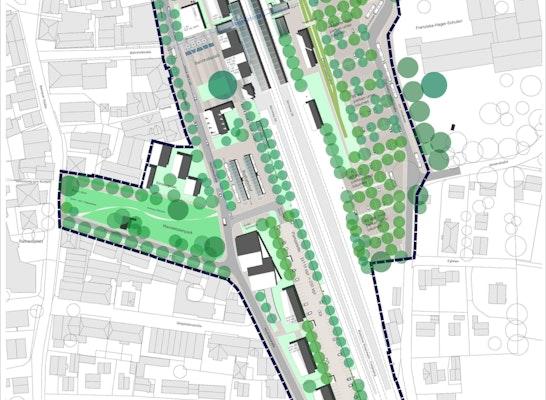 Lageplan 1-500, Schnitt/Ansicht 1-200