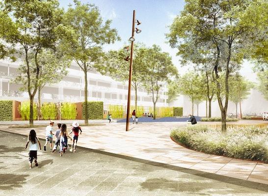 1. Preis Nach Überarbeitung mit der Realisierung beauftragt: Perspektive Quartiersplatz, © capattistaubach Landschaftsarchitekten