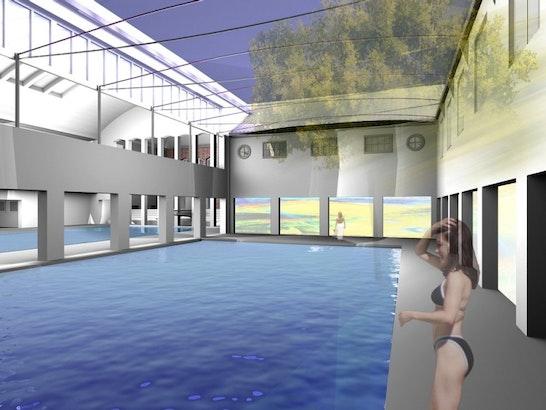 Die erweiterte Schwimmhalle