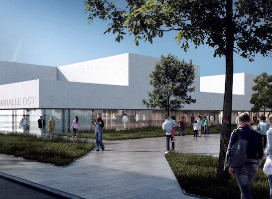 1. Preis Zuschlag: Perspektive Otto-Runki-Platz, Blick von Süd-Ost, © gmp Architekten