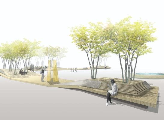 1. Preis: Visualisierung Holzdecks, © Hackl Hofmann Landschaftsarchitekten GmbH