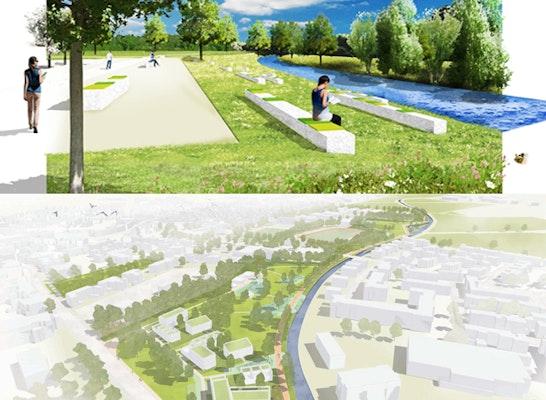 Gewinner Landschaftsteil: Als Gewinner des Landschaftsteils ging hermanns landschaftsarchitektur aus Schwalmtal hervor (oben) und für den städtebaulichen Entwurf REICHER HAASE ASSOZIIERTE GmbH aus Aachen (unten)