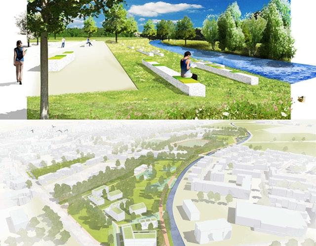 Als Gewinner des Landschaftsteils ging hermanns landschaftsarchitektur aus Schwalmtal hervor (oben) und für den städtebaulichen Entwurf REICHER HAASE ASSOZIIERTE GmbH aus Aachen (unten)