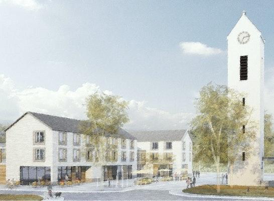 1. Preis Wettbewerb Neue Ortsmitte Schallstadt, Entwurf Melder Binkert Architekten Freiburg, Visualisierung LINK3D Freiburg