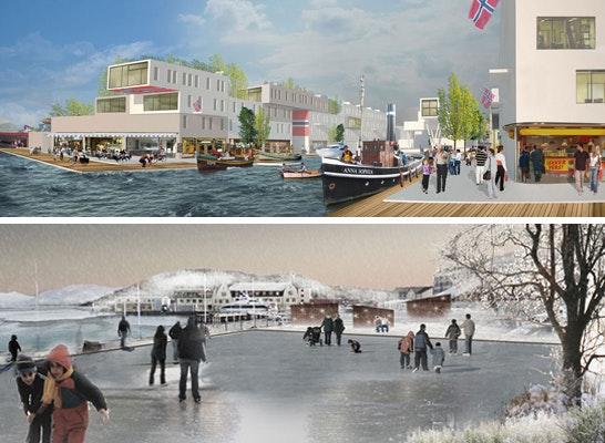 ein 2. Preis: oben:  Ein 2. Preis magma architecture, Berlin (DE);  unten:  Ein 2. Preis byterra, Aarhus (DK)