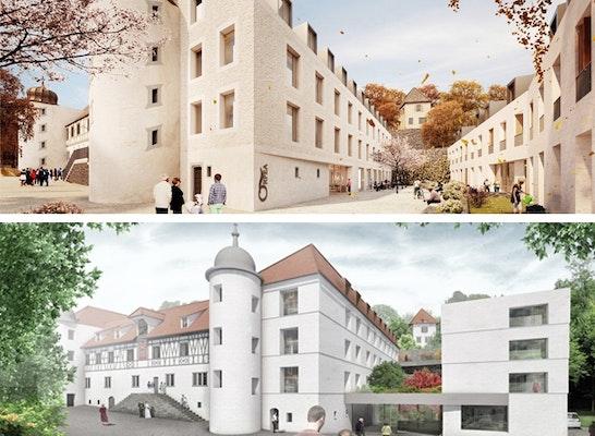 ein 1. Preis: Die zwei 1. Preise: Baumschlager Eberle Architekten (oben) // d.n.a trint + kreuder (unten)