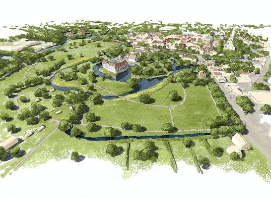 1. Preis: Blick von Südwesten über den Landschaftspark, © JKL - Junker und Kollegen Landschaftsarchitektur